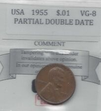 **1955** USA, Lincoln Wheat, Small One Cent, Minor Doubling on last 5