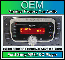 FORD SONY CD MP3 PLAYER, FORD KUGA AUTO RADIO STEREO con codice e le chiavi di rimozione