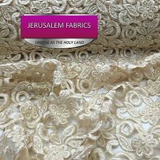 Stunning bridal beaded flower mesh lace champagne. Sold by the yard.
