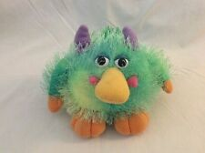 "AURORA blue green SHAGGY MONSTER W/ LAUGHING SOUND 5"" plush stuffed animal toy"