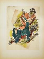 LE JIU-JITSU LITHOGRAPHIE POCHOIR ORIGINAL UZELAC 1932 LES JOIES DU SPORT 35