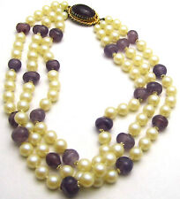 """Vintage 16.5+"""" 30mm Triple Strand Necklace w/Beads & Simulated Pearls Gold Tone"""