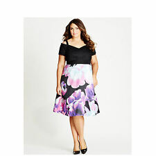 Autograph off the shoulder short sleeve floral print tulle Party DRESS New 22