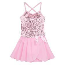Girl Kids Ballet Dance Dress Leotard Sequined Tutu Skirt Party Dancewear Costume