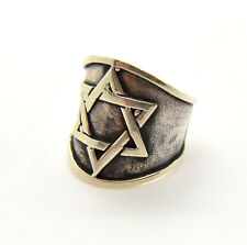 Sterling Silver Star of David heavy wide Israel Jewish Judaica ring size 8.5