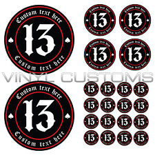 Lucky 13 Number 13 Your Text Here Vinyl Decal Sticker v2 Old English Font