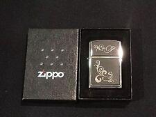 NEW In Box Black Matte On Chrome Zippo Scroll Design Lighter