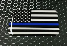 "THIN BLUE LINE Domed Decal Proud USA police Flag Emblem Car Sticker 3D 3.1""x 2"""