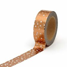 Washi Tape Rose Gold Copper Metallic Foil Polka Dots Spots 10 Metres