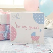 "New baby shower party tiny feet pink & blue ""be my guest"" christening guest book"