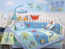 BOY CRIB BEDDING SET OCEAN DOLPHINS AT PLAY Infant Baby Nursery 13 Pc Quilt NEW