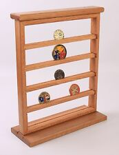 5 Shelves Oak Military Challenge Coin Stand Counter Top Display Case - USA Made