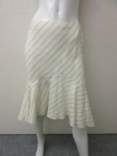 RALPH LAUREN PURPLE LABEL COLLECTION OFF WHITE LINEN FLUTTER SKIRT SIZE 6