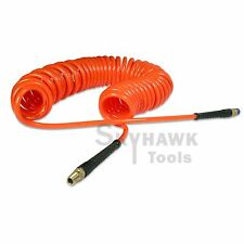 "1/4"" x 30 foot POLYURETHANE RE COIL AIR HOSE male SWIVEL Fittings ORANGE recoil"