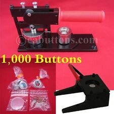 "1"" inch Tecre Pin Badge Button Maker Machine+Graphic Punch+1,000 Buttons Parts"