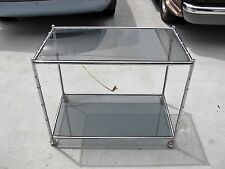 Mid Century Modern chrome Faux bamboo bar tea cart