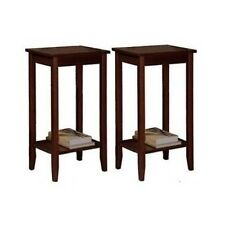 End Tables Set Pair Coffee Brown Wood Console Sofa Storage Accent Furniture Home