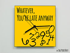Whatever, you're late anyway / Square Yellow - Wall Clock