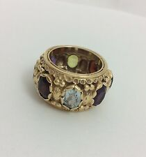 14MM 14K YELLOW GOLD MULTI COLOR GEMSTONE RING SIZE 8.25