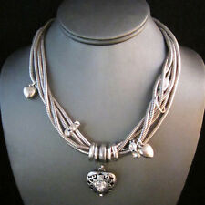 Exquiste Silver Brighton Bay Heart Charm Multi Chain Necklace