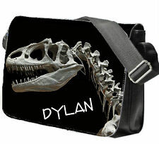 Personalised Boy's School / College / Large Messenger Bag Add a Name Dinosaur