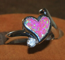 fire opal topaz Cz ring gems silver jewelry 6.25 8.25 cocktail engagement Heart