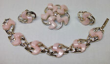 4 pc DODDS vtg Brooch Pin Screwback Earrings & Bracelet Set Satin Pink Thermoset