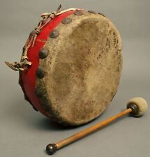 Old Used Beautiful CHINESE BUDDHA TEMPLE DRUM Wood Hide Large Tacks Red Color