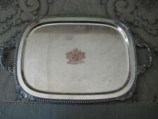 """Vintage English Silver Co. Silver On Copper """"Spero"""" Serving Tray With Handle"""