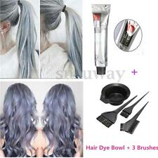 Grannyhair Light Gray Color Permanent Hair Dye Cream 100ml + Hair Dye Bowl Brush
