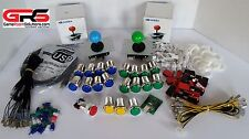 Arcade Sanwa Control Panel LED Illuminated Kit 2 Joysticks, 20 Buttons USB MAME