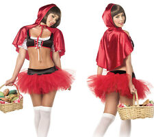 Sexy Red Hoodie Cutie Riding Hood Costume Fancy Dress Lingerie Stripper Medium