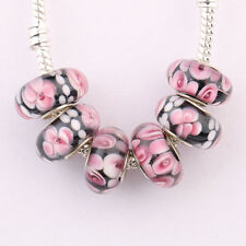 5/20Pcs Porcelain Murano Big Hole Lampwork Glass Beads Fit Charm Bracelet Gift
