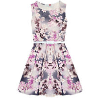 GIRLS NEW FLORAL PRINT PARTY SUMMER SKATER DRESS AGE 7 8 9 10 11 12 13 YEARS