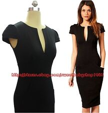 Womens Casual Career Wear to work PENCIL A midi dress bodycon BLACK Size SMALL