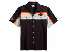 Harley Davidson HD Mens Short Sleeve Button Up Colorblocked Garage Shirt Size M