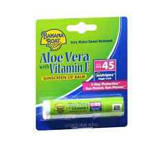 Banana Boat Sunscreen Lip Balm Aloe Vera With Vitamin E SPF 45 0.15 oz (2 pack)