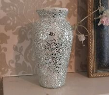 Crackle Vase Silver Glitter Sparkle Mosaic Mirror Glass Urn Style Wedding Candle