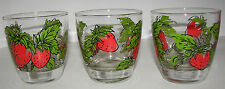 Lot of 3 Libbey Strawberry Fields Beverage Glasses