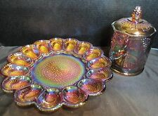 Indiana Glass Thousand Eyes Deviled Egg Tray & Lidded Jar Canister