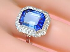 ANTIQUE DECO .65ctw DIAMOND 9.5ct BLUE SAPPHIRE PLATINUM COCKTAIL RING 1930