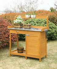Garden Potting Bench Table Patio Outdoor Planting Cabinet Storage Drawer Shelf