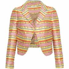 CARVEN  Multi-color  Striped Cotton Blend Jacquard Blazer Jacket  - Size Euro 40