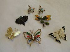 Butterfly lot of 6 Enamel Rhinestones Brooch Pins Earrings Unusual 935 Silver