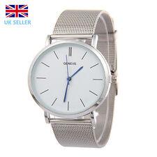 Geneva Uhr Quarz Damen Uhr Versilbert Edelstahl Netz Armbanduhr