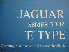 1717 New Jaguar V12 S.3 XKE UK  Specification Owners Manual