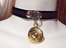 SAILOR MOON COMPACT COLLAR black choker punk necklace vinyl vegan cosplay L2