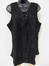 Plus Size 3X LACE Top STRETCH Shirt LINED Blouse LACE-UP Sexy BLACK Evening NWT