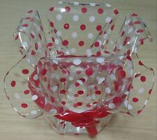 *Ruffle Bowl Red Polka Dot Clear Plastic Party Bowl Ribbon Bow Brother Sister