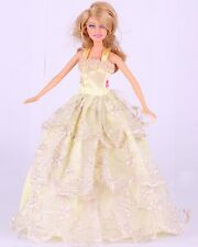 Wholesale Handmade Yellow The original soft clothes dress for barbies doll 43
